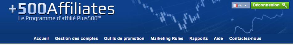 500Affiliates est le programme d'affiliation officielle de la plate-forme de négociation Plus500, le plus grand réseau d'affiliation financière dans le monde
